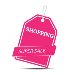 shopping super sale pink tag image vector image