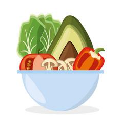 bowl vegetables salad fresh delicious vector image