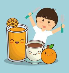 boy with juice chocolate and orange fruit vector image