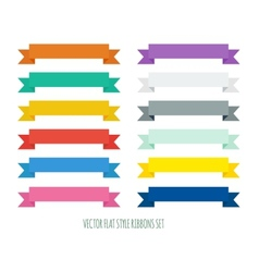 Collection of flat ribbons of different colors vector image