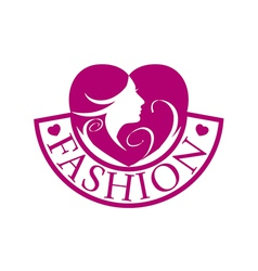 logo heart and face for fashion vector image vector image