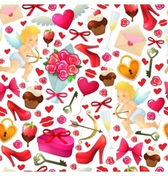Seamless pattern of Valentines Day icons vector image