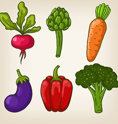 Set of six cute hand drawn vegetables vector image