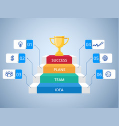 stair step to trophy and success infographics vector image vector image