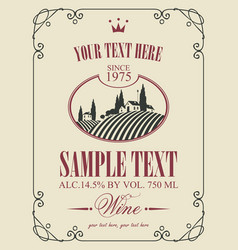 wine label with landscape of vineyards and village vector image vector image