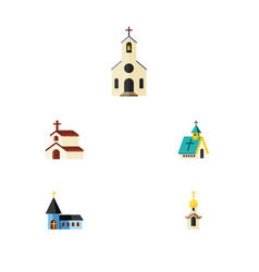 flat icon building set of structure religion vector image vector image