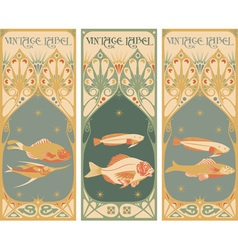 label art fish vector image