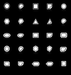 Label icons with reflect on black background vector image