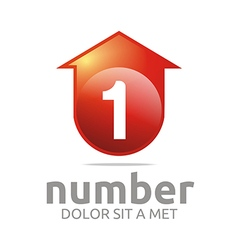 number 1 figure arrow house symbol vector image