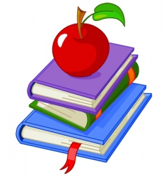 pile book with red apple vector image vector image