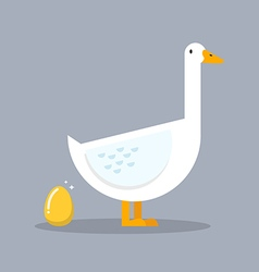 White goose and golden egg vector image