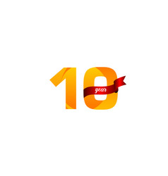 10 years anniversary celebration yellow with red vector