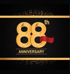 88 years anniversary logotype with premium gold vector