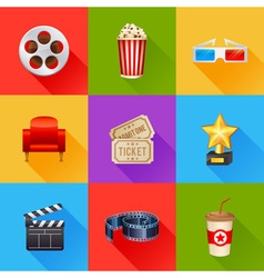 A detailed set of realistic cinema icons vector image