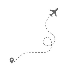airplane route with poin vector image
