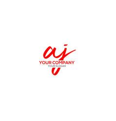 Aj script logo design vector