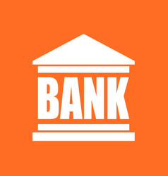bank building icon in flat style on orange vector image