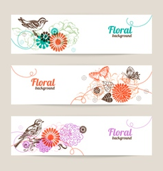 Banners with hand drawn floral background vector image