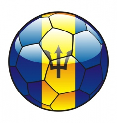barbados flag on soccer ball vector image