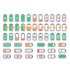 battery charging logo charge power level vector image
