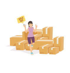beautiful girl with the goods in the warehouse vector image