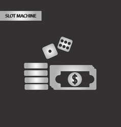 Black and white style money dice chips vector