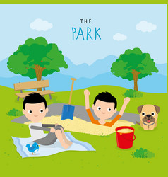 boy play activity relax park cartoon vector image