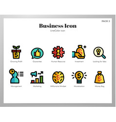 Business icons linecolor pack vector