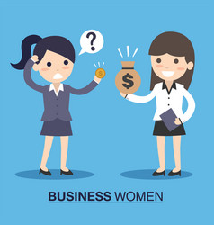 Businesswoman and employee with money vector