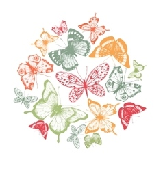 Butterfly hand drawn composition vector