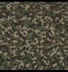 Camouflage style knitted pattern in green colors vector