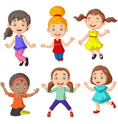 cartoon happy little girls with different pose vector image