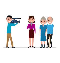 Cartoon journalist interviewing elderly vector