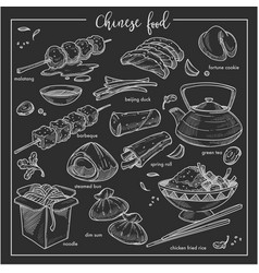 Chinese food chalk sketch national cuisine of vector