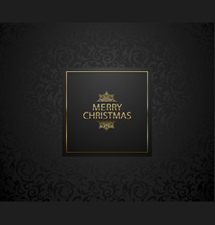 christmas background with black floral pattern vector image