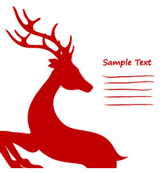 christmas card red standing reindeer cropped on vector image