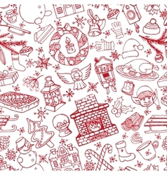 Christmas doodle symbols seamless patternLinear vector image