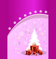 christmas tree purple background with stars vector image
