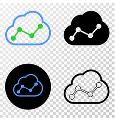 cloud chart eps icon with contour version vector image