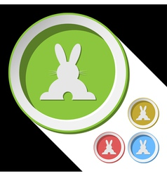 color icons with back Easter bunny vector image