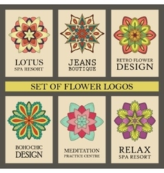 Colorful Flowers Logos Set vector