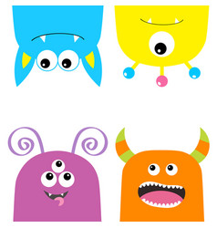 Colorful monster silhouette set hanging head face vector