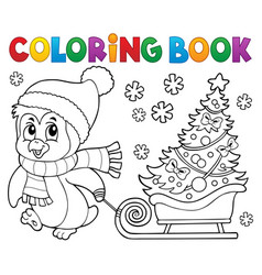 Coloring book christmas penguin topic 7 vector
