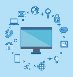 Computer display with social media marketing icons vector