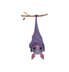 cute bat hanging upside down on tree branch funny vector image