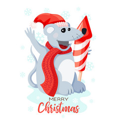 cute mouse dressed in santa hat with a huge vector image