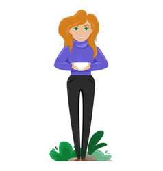 cute woman with a cup coffee in her hands vector image