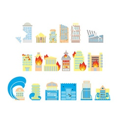 Disaster icon collection Destruction of buildings vector image vector image