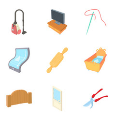 Dwelling house icons set cartoon style vector