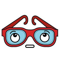 Eye glasses kawaii character vector